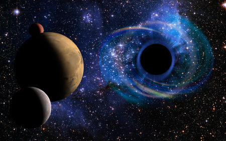 Stars are collapsing in a deep spiral, attracted by the huge gravitational field of black hole. Three planets appear in the foreground. Elements of this image furnished by NASA.