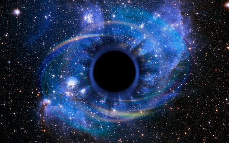 Stars are collapsing in a deep black hole, attracted by the huge gravitational field. The black hole looks like an eye or an iris in the sky. Elements of this image furnished by NASA.