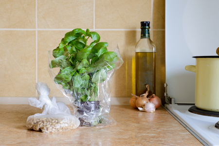 Fresh green basil in a vase in the kitchen with some pinoli (pine nuts) in a cellophane bag, ready for an italian recipe