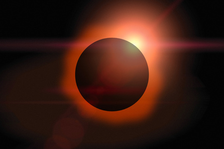 Solar eclipse with orange halo on black sky background. Stock Photo
