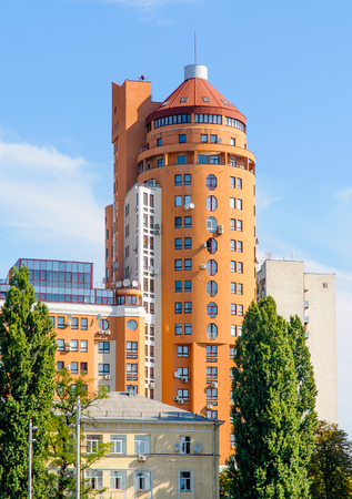 Kiev, Ukraine - August 2, 2012: High modern building in the Shota Rustaveli street of Kiev, Ukraine