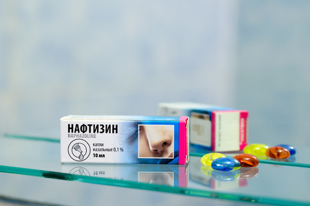 KievUkraine - August 27, 2017 - Naftizin is an eye decongestant and lubricant. It works by constricting the blood vessels in the eye and coating the eye, which relieves dryness, and irritation.