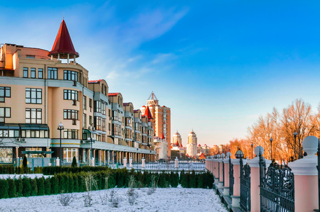 A view of Obolonska Naberezhna in the Obolon district of Kiev, Ukraine, during a cold and clear winter evening Reklamní fotografie