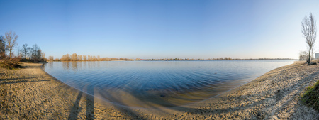 Panorama of the Dnieper River in Kiev during a cold and clear winter afternoon