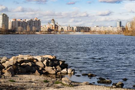The Obolon skyline near the Dnieper river in Kiev. It is sunrise time, in autumn.