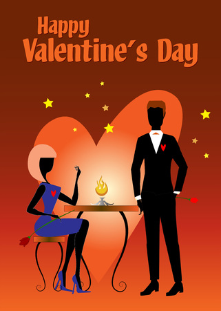 Two elegant lovers, a woman and a man, with flowers and heart, are waiting to celebrate the Saint Valentines day dinner Illustration