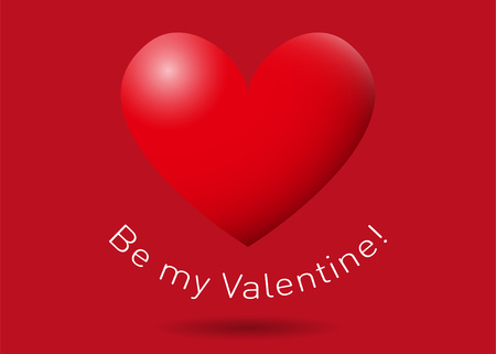 Red San Valentines heart on red background with the text Be my Valentine! Illustration