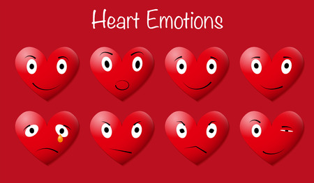 Eight heart emoticons with various expression on red background