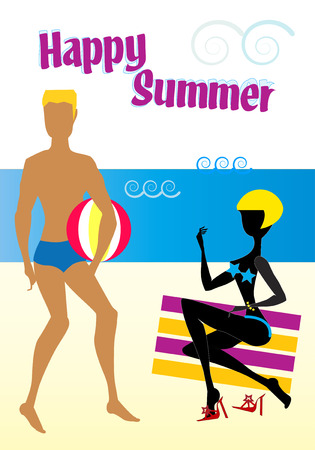 A blond woman on a red and yellow striped beach towels is watching at her boyfriend playing with a ball on the beach  close to the sea. Happy summer Illustration