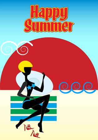赤と黄色の縞模様のビーチタオルに帽子をかぶったブロンドの女の子は、日没時に彼女のボーイフレンドを待っています。夏おめでとう。