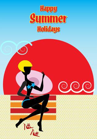 赤と黄色の縞模様のビーチタオルに帽子をかぶったブロンドの女の子は、日没時に彼女のボーイフレンドを待っています。夏休みおめでとう。  イラスト・ベクター素材