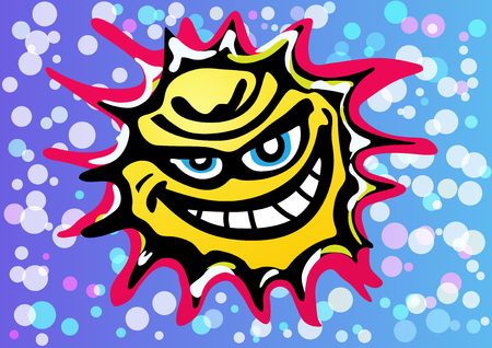 A bad yellow angry sun is laughing in a colorful sky full of bubbles of confetti. A long exposure to the sun can cause various diseases or illness and cancer. Illustration