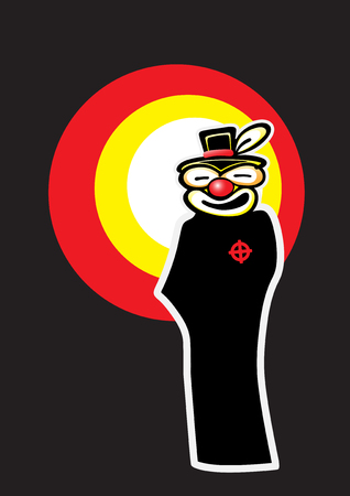 Illustration of a black gangster silhouette, wearing a clown mask, with a searchlight effect on a dark background.