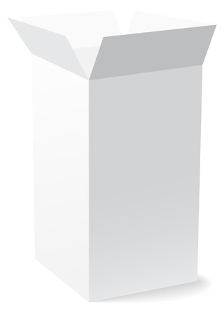 Open high rectangular white box with shadow on white background Illustration