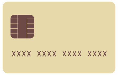 Beige generic credit card icon with fake number Illustration