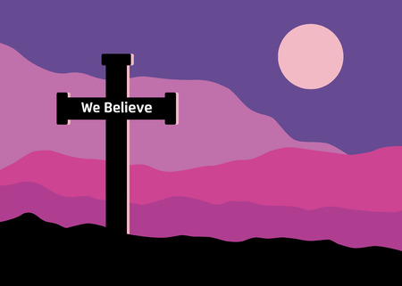 A symbolic view of the Crucifix on the Golgotha mountains with the moon in the sky Stock Illustratie