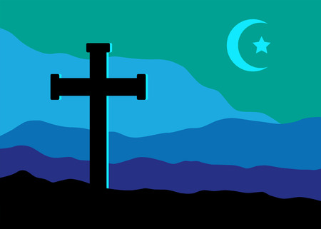 A symbolic view of the Crucifix on the Golgotha mountains with the crescent moon and a star in the sky as christian  and muslim symbol together