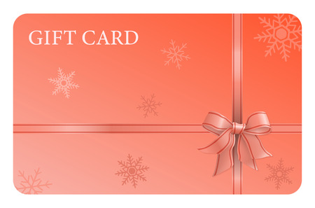 An orange gift card with a ribbon and a bow, and snow flakes. It can be used for presents, offers and rewards