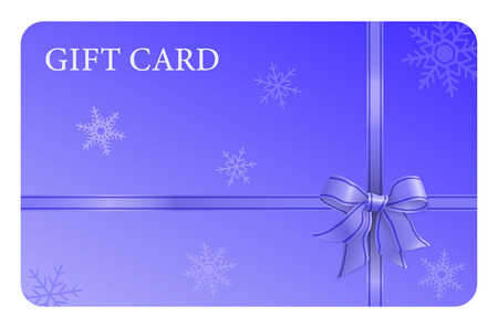 A blue gift card with a ribbon and a bow, and snow flakes. It can be used for presents, offers and rewards