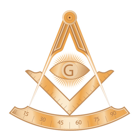 Copper masonic square and compass symbol, with G letter in an eye on sun rays. Mystic occult esoteric, sacred society. Vector illustration Stock Illustratie