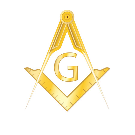 Golden masonic square and compass symbol, with G letter. Mystic occult esoteric, sacred society. Vector illustration Çizim