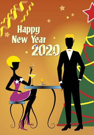 A blond woman in red dress and red shoes, sitting at a table and holding a cigarette, is talking to her boyfriend in black suit during the 2020 New Year party