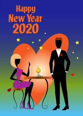 A woman in purple dress and white shoes, sitting at a table and holding a tulip, is talking to her boyfriend in black suit during the 2020 New Year party