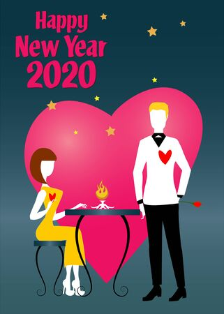 A woman in orange dress and white shoes, sitting at a table, is talking to her boyfriend in black and white suit during the 2020 New Year party 向量圖像