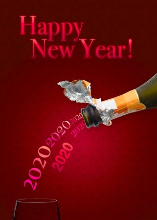 Bottle of Champagne wine pouring 2020 in a glass for new year two thousand eighteen