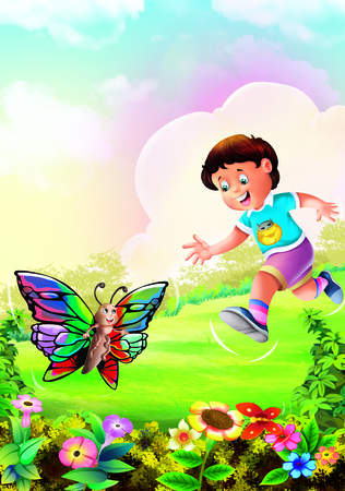 Boy catching butterfly