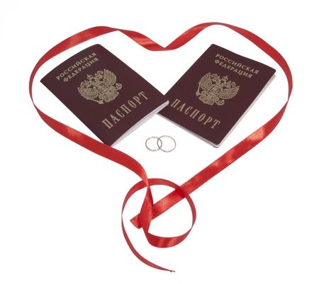 Two passports, two rings in heart,  isolated. photo