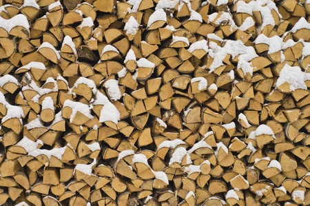 Background. A woodpile of dry fire wood in the winter. photo