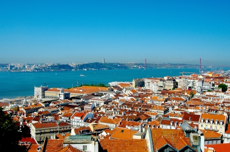 baixa: View from the walls of the Castle of Sao Jorge on the lower town Baixa of Lisbon and the Tagus.