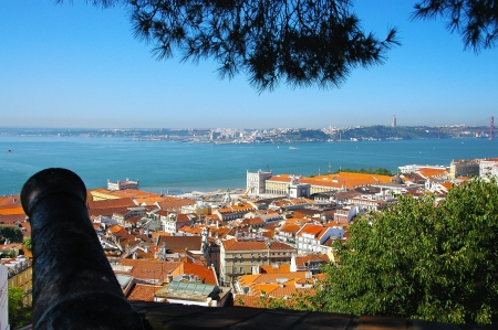 View from the walls of the Castle of São Jorge on the lower town Baixa of Lisbon and the Tagus, the Ponte de 25 April Vinte e Cinco