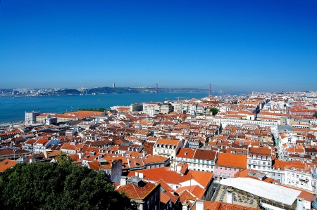 baixa: View from the walls of the Castle of Sao Jorge on the lower town Baixa of Lisbon and the Tagus, the Ponte de 25 April Vinte e Cinco