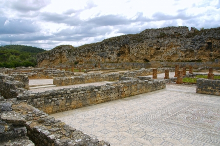 archaeologically: Conimbriga is Roman excavation sites biggest from Portugal and is a fantastic place to have a look in the past  During the excavations found artefacts book, that Coimbra for the first time between the 8th and 9th century B C  was settled, but only during  Stock Photo
