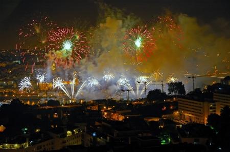 patron:  Dia de S�o Jo�o, Party of the patron saint s Portos, fireworks and joy everywhere Stock Photo