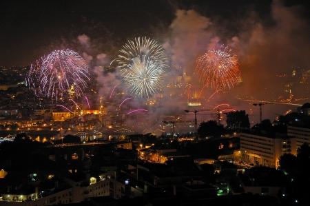 patron of europe:   Dia de S�o Jo�o, Party of the patron saint s Portos, fireworks and joy everywhere Stock Photo