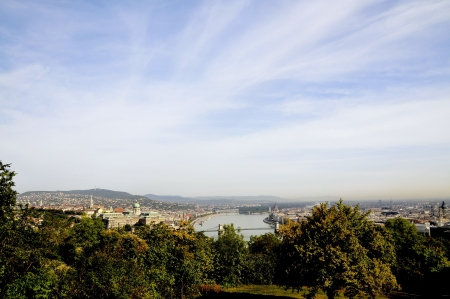castle district: Panoramic view of Budapest to Buda Castle on Castle Hill in the Castle District