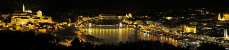 castle district: Nighttime panoramic view of Budapest to Buda Castle on Castle Hill in the Castle District Hungary, Europe