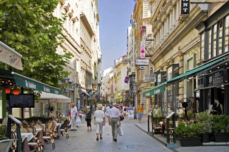 The shopping area of the Hungarian capital Budapest Vaci utca