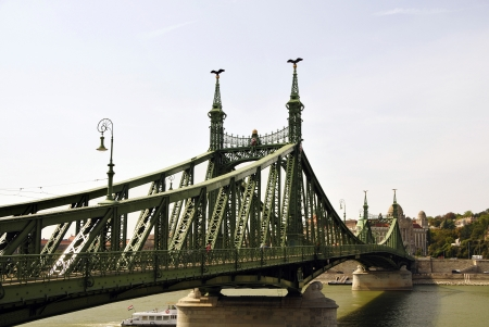 decode: The Liberty Bridge is one of today nine bridges across the Danube in Budapest, Hungary