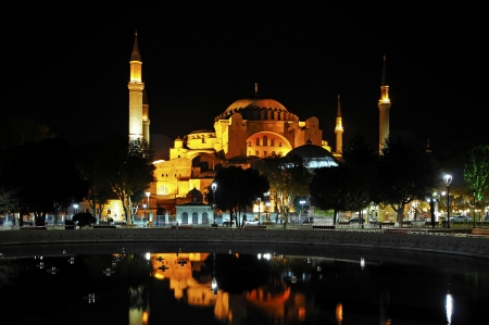 historically: The Hagia Sophia was the 6th Century as a Byzantine church in Constantinople, today s Istanbul today,later used as a mosque  Stock Photo