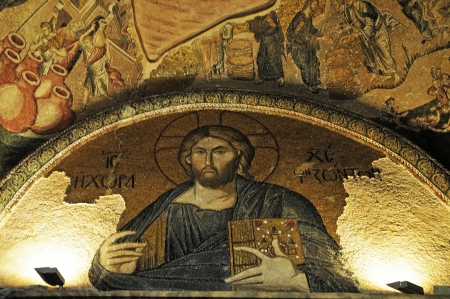 the scriptures: Mosaic in the Chora Church, view Jesus with the Holy Scriptures, Istanbul, Turkey