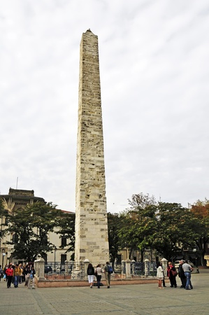 Brick obelisk at the Hippodrome Square  At Meydani   Istanbul   The Walled Obelisk probably dates from the late Roman era  Emperor Constantine VII  913-959  had the obelisk in honor of his grandfather Basil I  decorate the obelisk with gilded bronze relie