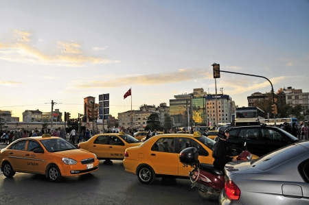 Taksim Square in the Beyoglu district is the central square and traffic intersection in the European part of Istanbul  Who here does not follow the traffic signals is either suicidal or very fast walk, for the six-lane road around the square sail is too l