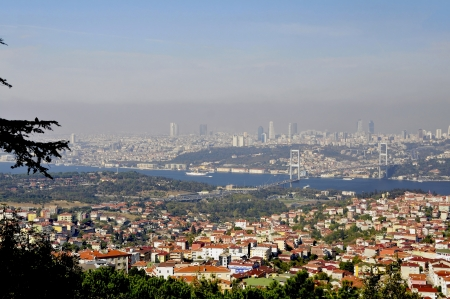 An impression of the enormous dimensions of Istanbul but you get more if you are on the lookout hill which lies on the Asian side of Istanbul, is located  This is with 267 meters the highest peak in Istanbul    Stock Photo