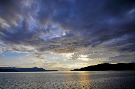 midsummer: Fjord landscape in midsummer in the far north Norway  Stock Photo