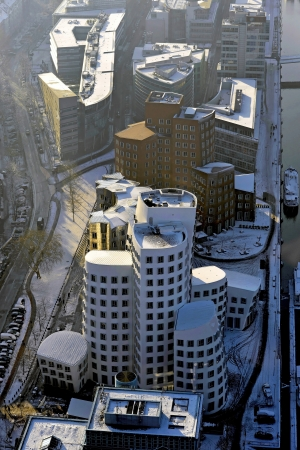 bird 's eye view: Gehry Buildings in Duesseldorf The towers are crooked, and they are wrong, they are angled and nested