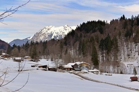 Winter landscape in a romantic valley of Oberstdorf